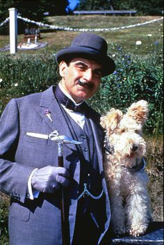 So cute I could hug him! (The dog silly! But yes, I could probably easily hug Poirot too,  he's so loveable.) Bob the Wire Fox Terrier. From the episode: The Dumb Witness.