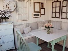 Space saver. Use benches, booths or even the right kind of couches to get a lot of seating out of a small dining room.