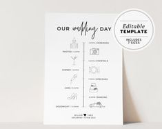 Wedding Timeline Sign / Wedding Itinerary Agenda Icons / | Etsy Wedding Reception Schedule, Wedding Signs, Diy Wedding, Print Place, Forest Design, Wedding Timeline, Custom Fonts, Monogram Initials, Step By Step Instructions