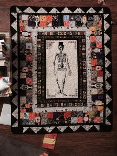 "Halloween quilt ~ *no pattern, but skeleton panel from fabric line ""Chillingsworth"" by Echo Park for Andover Fabrics 