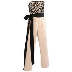 Preowned Givenchy Haute Couture Beaded, Strapless Jumpsuit With Jacket (28 110 ZAR) ❤ liked on Polyvore featuring jumpsuits, jumper, beige, short jumpsuits, sequin short jumpsuit, strapless jumpsuit, embellished jumpsuit and strapless sequin jumpsuit