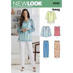 This easy-to-sew pattern includes a three-quarter, long sleeve or sleeveless tunic/top with split neck and optional shirttail hem and front pockets. The pants are elastic waist pull-on with tie front. New Look sewing pattern.