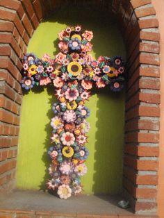 Mexican Art - Clay Flower Cross