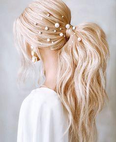 Wedding Ponytail Hairstyles, Bridal Ponytail, Teen Hairstyles, Bride Hairstyles, Pretty Hairstyles, Hairstyles For Weddings Bridesmaid, Hairstyles With Ribbon, Wedding Bridesmaids, Hairstyles For Long Hair Wedding