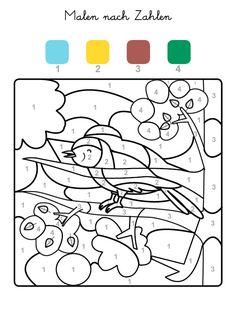 Ausmalbild Malen nach Zahlen: Vogel ausmalen kostenlos ausdrucken