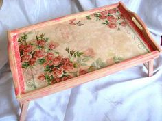 Decoupage, Tray, Floral, Home Decor, Bed Tray, Wooden Trays, Fonts, Decoration Home, Room Decor