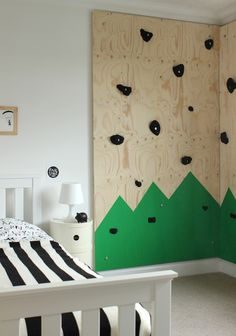 Mountain climbing wall in a kids room | Growing Spaces