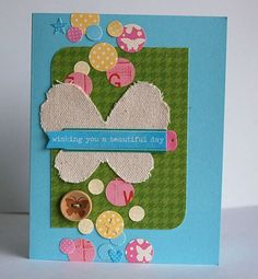 Love the scrappy vibe and color scheme of this card by Terri