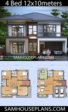 House Plans With 4 Bedrooms - Sam House Plans design plans modern Two Story House Design, 2 Storey House Design, Duplex House Design, Duplex House Plans, House Front Design, Small House Design, Sims House Plans, House Layout Plans, House Layouts