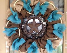 Burlap Western Wreath Natural Brown and Red Chevron Welcome