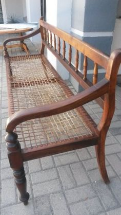 Solid Wood Stinkwood Riempie Bench Cape Dutch, Outdoor Furniture, Outdoor Decor, Solid Wood, Hallways, Architecture, Antiques, Benches, Chairs