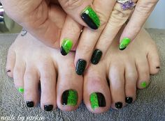 Young nails gel  Black and neon green  swirl nail art Nails by jackie