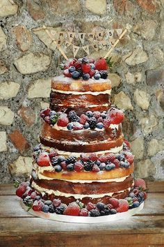 "Love the ""naked"" cakes with berries. Blueberries best for colour scheme."