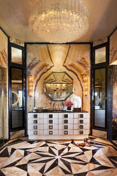 Luxurious Bathroom with Gold Chandelier and Mosaic Marbled Floor