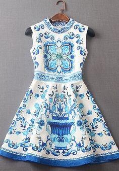 f5e8a6756e4 Jacquard blue and white porcelain dress Deb Dresses