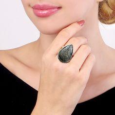 Sterling Silver Agatized Fossil Dinosaur Bone Ring