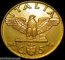 Italy - Kingdom of Italy - Italian 1942R 5 Centesimi Coin - World War 2 Coin