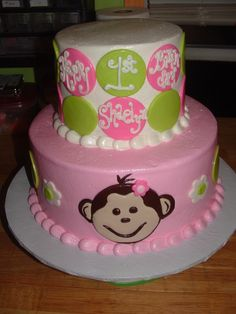 First Birthday Monkey Cake.