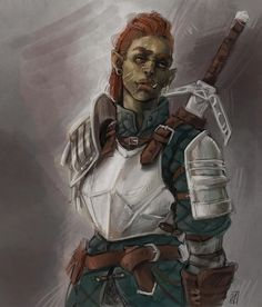 [Art][OC] Bruck, half-orc Fighter/Mercenary, by me! Fantasy Character Design, Character Creation, Character Design Inspiration, Character Concept, Character Art, Concept Art, Character Reference, Character Ideas, Writing Inspiration