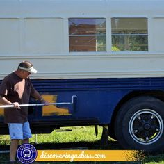 What are your options for painting a converted school bus? Read this post to find out how you can DIY for under $200.00 discoveringusbus.com Old School Bus, Converted School Bus, School Bus House, School Bus Camper, Magic School Bus, Rv Bus, School Buses, Camper Van, Diy Camper