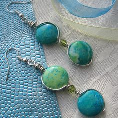 Earrings - Spider Jasper Drops in Green and Blue £5.95 by Adien Crafts
