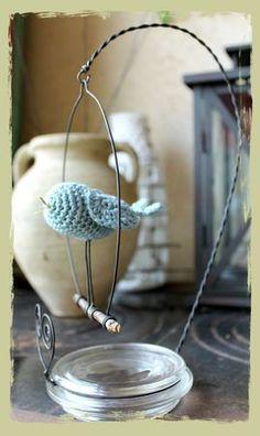 Crocheted Bird on a Perch, nice idea