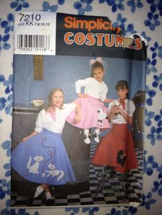 Let's go to the Sock Hop!  Mid Century teen fasion! Simplicity 7210 Girl's Poodle Skirt Costume by alittlebitgreener, $7.00