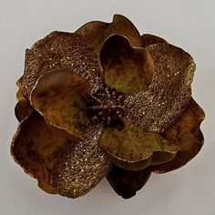 Glittered Velvet Jumbo Magnolia Artificial Flower Hair Clip/Pin Brooch (Brown Gold) ** Read more reviews of the product by visiting the link on the image.