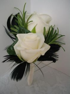 Roses with Rosemary & black feathers (substitute with brown?)