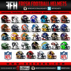 Is your favorite NFL team up for a makeover? Well Deeyung Entertainment has got some ideas for you! The graphic designing company created new bold concept helmets for all 32 NFL teams and they look pretty sick. What are your thoughts about your favorite team's helmet? Let us know with a comment at the bottom!