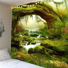 Wall Hanging Forest Streams Print Tapestry - GREEN W91 INCH * L71 INCH