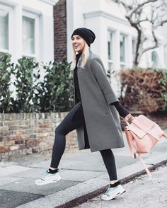 @stylelobster • winter outfit, winter look, black beanie, pink bag, sneakers, glam