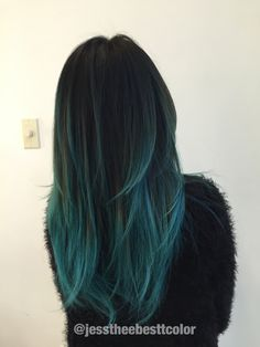 Mary cake blue teal ombre balayage by Jessica Gonzalez in Los Angeles