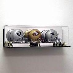 Deluxe Acrylic Triple Mini Football Helmet Display Case - Wall Mountable Z157-AD49