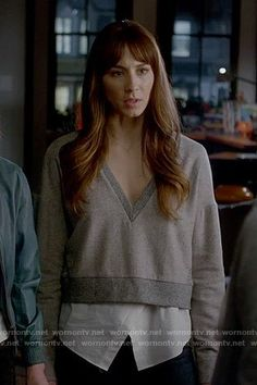Spencer's grey v-neck layered sweater on Pretty Little Liars. Outfit Details: https://wornontv.net/71958/ #PLL