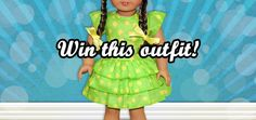 Win a beautiful green 18 inch doll dress with yellow polka dots Doll Party, Doll Crafts, 18 Inch Doll, Craft Tutorials, Dress For You, Clothing Patterns, Girl Dolls, My Girl, Polka Dots