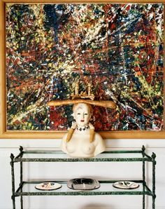 Jean-Paul Riopelle's Derive,1952, sits with Salvador Dalí's <i>Buste de Femme,</i> 1977.-Wmag