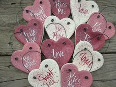 Valentines Day Salt Dough Hearts Set of 12 Hanging Party Favors Place Settings Napkin Rings 1495 via Etsy Salt Dough Projects, Salt Dough Crafts, Salt Dough Ornaments, Clay Ornaments, Valentines Day Decorations, Valentine Day Crafts, Holiday Crafts, Valentine Heart, Clay Crafts