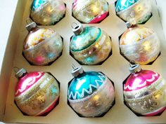 Christmas Ornaments Shiny Brite Vintage 12. $25.00, via Etsy.
