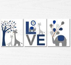 Navy and grey Nursery Art Print Set, Kids Room Decor, Children Wall Art - Tree, love, baby elephant, giraffe nursery, baloon, baby boy. $39.95, via Etsy.