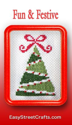 "Cross-Stitch Christmas Tree is fun and easy for beginners to stitch. Framed in 5""x7"" Red Hoop-Frame from EasyStreetCrafts.com"
