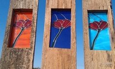 Recycled timber leadlight planks -  Poppies (set of 3).  Designer Dirt