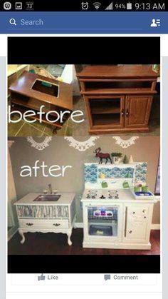 Kids kitchen set made or of old furnature