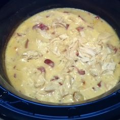 Must make!! Chicken bacon ranch crockpot meal. In crockpot, mix together 1 c. sour cream, 1 can cream of chicken soup, 1 hidden valley ranch dry seasoning packet, 2 tsp garlic, and 1/4 c. cooked bacon bits.  Add 4 chicken breasts.  Cook on high for 3-4 hours.  Shred chicken.  Serve over cooked egg noodles. by darla