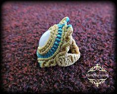 Blue lace Agate macrame ring handmademicromacrame by KarMacrame