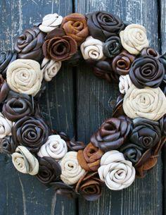 Leather Rose Wreath. Giddy Up. BourbonandBoots.com