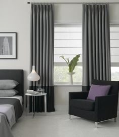 Install Modern window treatments for Protection against Sun and Heat modern window treatments cool window treatments, blinds, shades, interior JRFREQF Contemporary Window Treatments, Contemporary Windows, Modern Windows, Contemporary Curtains, Modern Curtains, Window Treatments Living Room, Living Room Windows, Style At Home, Bedroom Window Dressing
