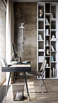 Love the simple workspace here, the storage is a great addition.. The tall lamp and bookcase add a sense of height to room