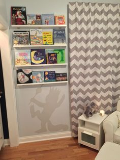 Where the wild things are nursery! Our modern take on the childhood book! shelves from the container store, curtains from pottery barn kids, chair from kids are us, and side table from ikea. Nursery Twins, Nursery Themes, Nursery Ideas, Nursery Inspiration, Room Ideas, Baby Boy Rooms, Baby Boy Nurseries, Nursery Curtains, Everything Baby