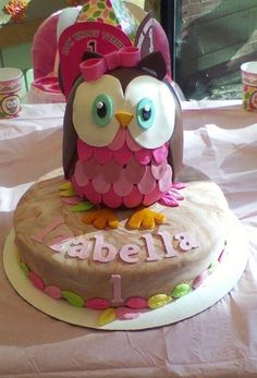 Image detail for -Owl Birthday Cake.Look Whoos Turning by on Cake Central Owl Themed Parties, Owl Birthday Parties, Birthday Bash, Fondant Cakes, Cupcake Cakes, Fruit Cakes, Baby Cakes, Cupcake Ideas, Owl 1st Birthdays